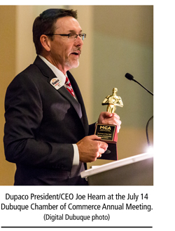Joe Hearn accepting Dupaco as the 2016 Business of the Year award.