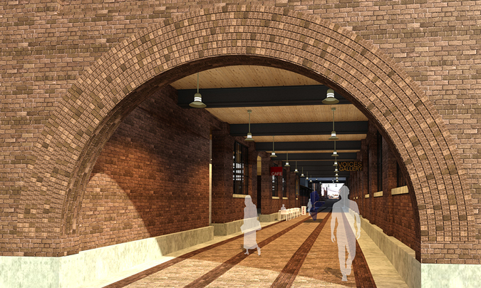 Architectural rendering of the proposed public walkway looking north from 10th Street: In addition to credit union operations, the building's first and second floors could feature a mix of retail, entertainment, and community space. Plans include opening up a public walkway through the building that would connect 11th and 10th Streets, and align with the Caradco Courtyard's access to 9th Street.