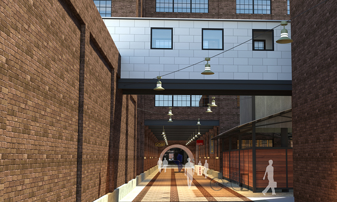 Architectural rendering of proposed public walkway looking south from 11th Street: In addition to credit union operations, the building's first and second floors could feature a mix of retail, entertainment, and community space. Plans include opening up a public walkway through the building that would connect 11th and 10th Streets, and align with the Caradco Courtyard's access to 9th Street.