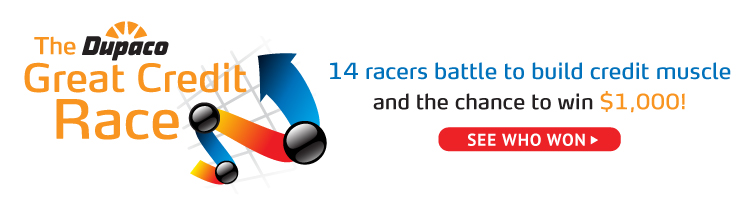 The Dupaco Great Credit Race. 14 racers battle to build credit muscle and the chance to win $1,000! Click to see who won.