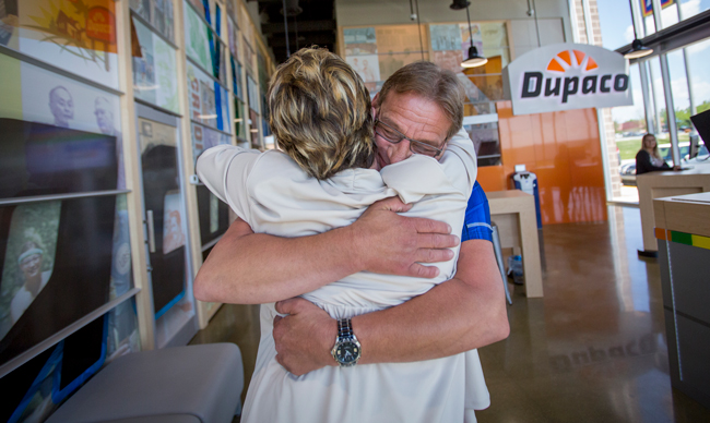 Member Ralph Freese meeting Dupaco's Terrie Smentek for the first time