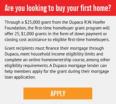 Dupaco R.W. Hoefer Foundation first-time homebuyer grant program