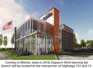Coming to Marion, Iowa in 2018, Dupaco's third learning lab branch will be located at the intersection of Highways 151 and 13.
