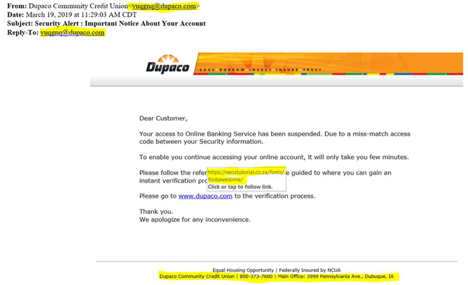 Phishing email scam: Another example of a phishing attempt