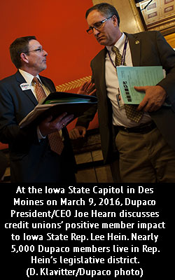 At the Iowa State Capitol in Des Moines on March 9, 2016, Dupaco President/CEO Joe Hearn discusses credit unions' positive member impact to Iowa State Rep. Lee Hein. Nearly 5,000 Dupaco members live in Rep. Hein's legislative district. (D. Klavitter/Dupaco photo)