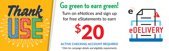 Go green to earn green with our Thank Use campaign