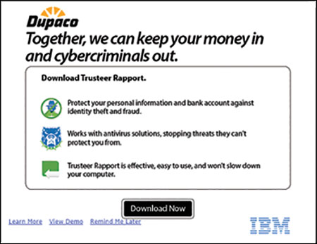 Trusteer Rapport download window