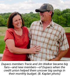 Dupaco members Tracie and Jim Walker became big fans—and new members—of Dupaco when the credit union helped them uncover big savings in their monthly budget. (B. Kaplan photo)
