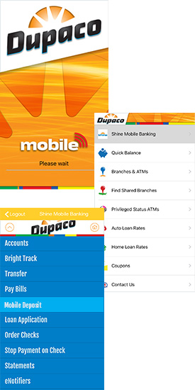 Dupaco mobile deposit screen shots